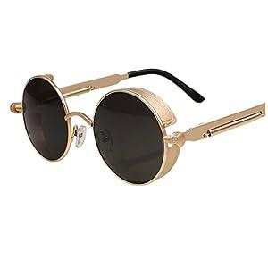 Arctic Star Steam Punk, Gothic, Retro Pattern Edging, Antique Glasses Round Frame Sunglasses.