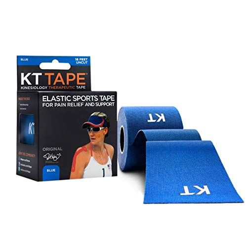 KT Tape Original Cotton Elastic Kinesiology Therapeutic Sports Tape, 16 Ft Uncut Roll, Breathable, Free Videos, Pro & Olympic Choice, Blue