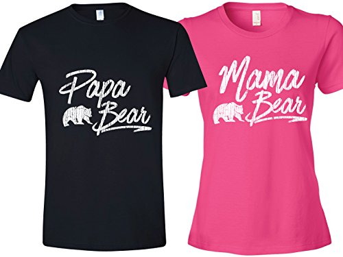 Shirt for Mothers, Bear Shirt For Fathers Day, Pink Ladies Large & Black Mens XL