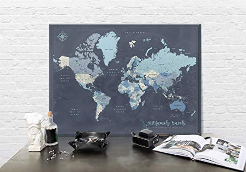 Many Canvas Colors - Family world travel map push pins on canvas - Personalized World map with pins - Fine Art Quality - Navy and many other color options