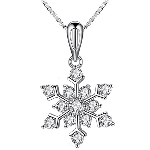 Womens Girls Snowflake Pendant Necklace Sparking Cubic (Snowflake Necklace)