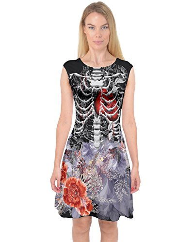 PattyCandy Womens Spooky Skeleton Halloween Capsleeve Midi Dress - M