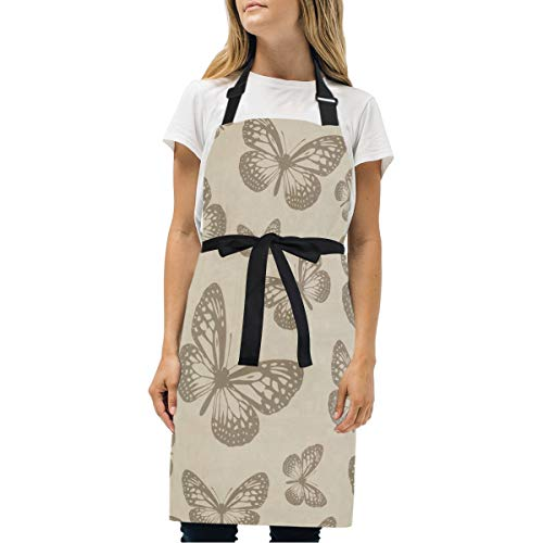 HJudge Womens Aprons Yellow Butterfly Kitchen Bib Aprons with Pockets Adjustable Buckle on Neck