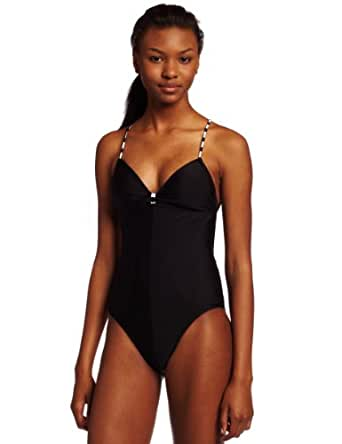Volcom Juniors Time Lines One Piece Swimsuit, Black Solid, Small