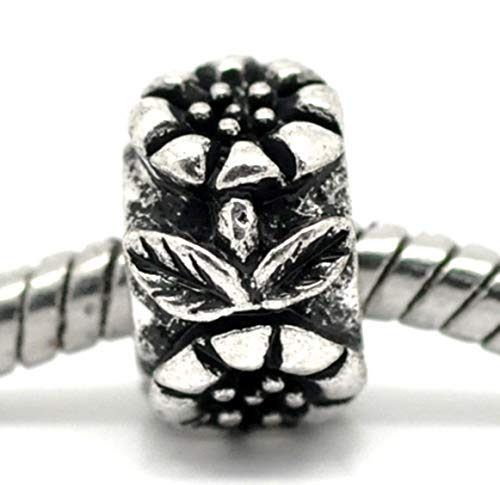 (Sunflower Flower Garden Spacer Charm for Silver European Bead Slide Bracelets Crafting Key Chain Bracelet Necklace Jewelry Accessories Pendants)