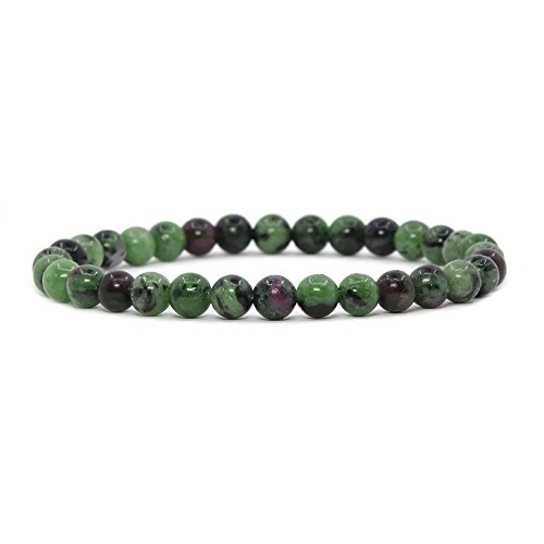 (Natural Ruby in Zoisite Gemstone 6mm Round Beads Stretch Bracelet 6.5