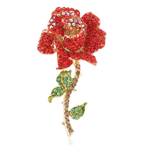 - EVER FAITH Women's Austrian Crystal Blooming Rose Flower Leaves Brooch Red Gold-Tone