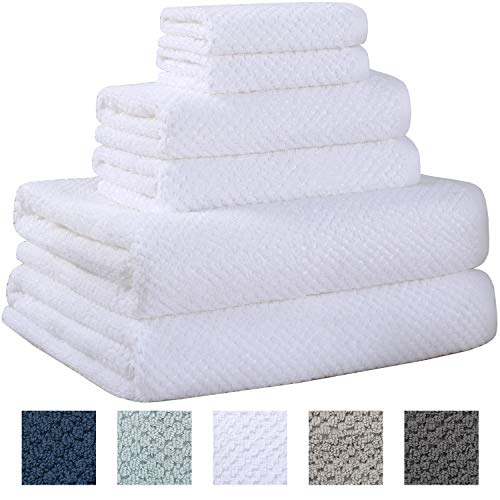 Truly Lou 100% Cotton Textured Towels | 6 Piece Bath Towel Set | Absorbent, Quick-Dry, Oversized, Large Pique Decorative Style | 2 Bath Towels, 2 Hand Towels, 2 Washcloths (White)