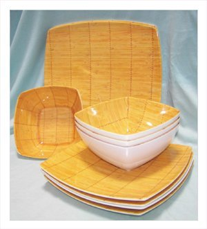 Bamboo Style Melamine Dinner Set 12 Pieces Square  sc 1 st  Amazon.com & Amazon.com | Bamboo Style Melamine Dinner Set 12 Pieces Square ...