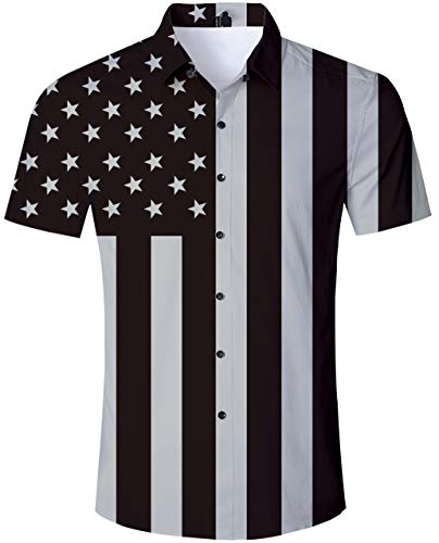 TUONROAD Men Casual Aloha Hawaiian Luau Shirt Cool Patriotic Black White Star Stripe American Flag Printed Button Down Shirt Short Sleeve Shirt Boys Hawaiian Print Tshirts Wear (Black And White American Flag T Shirt)