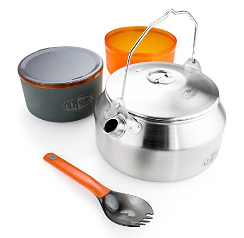 GSI Outdoors Glacier Stainless Steel Ketalist with Kettle, Bowl, Mug and Camping Spork for Campfire Cooking and Eating