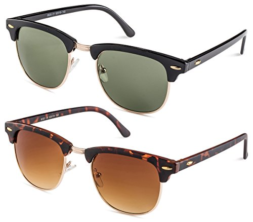 Shiny Black Frame/Green Lens and Matte Havana Frame/Brown Gradient Lens (Clubmaster Style Sunglasses)