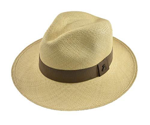 Ecua-Andino - Original Panama Hat - Natural Classic Fedora - Brown Band - Toquilla Straw - Handmade in Ecuador (Medium   56cm - 57cm)