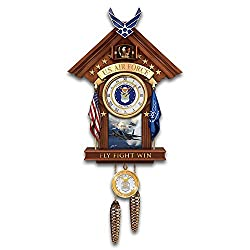 United States Air Force Mahogany-Toned Cuckoo Clock with F15 Art by The Bradford Exchange