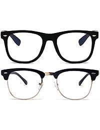 1a2467f4b708 Unisex Blue Light Blocking Glasses Square/Half Frame Eyeglasses Frame Anti  Blue Ray for Computer
