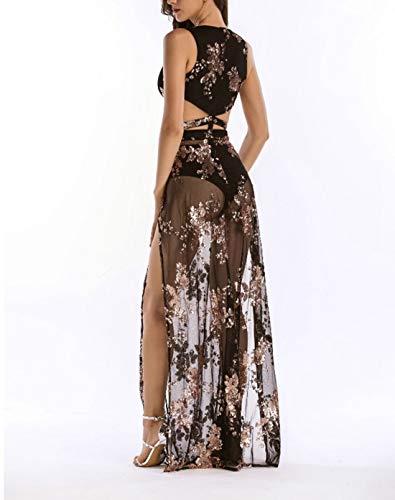 Haxibkena L Ricamo color Size Donna Scollo A Black Pink Da Lungo Con Dress Il Spalate Maxi Paillettes V AARUpa