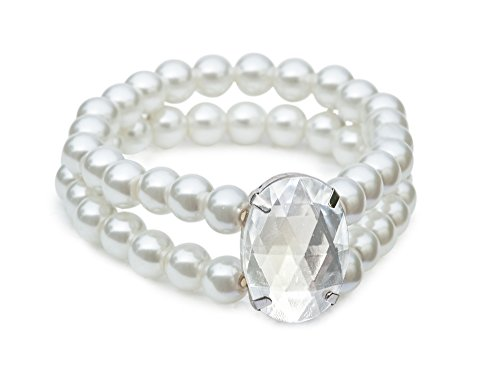 Costume Bracelets (Double Faux Pearl & Big Bling Bracelet - Stretch Vintage Faux Pearl Bracelet; Perfect for Bridal Jewelry)