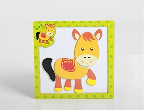 Chusea Interesting Jigsaw Puzzles Wooden Magnetic Peg Puzzle Safe Education Learning Toy Fantastic Gifts For Kids(Horse) ()