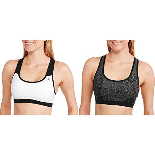 Danskin Sports Bras, 2-Pack Medium Impact (Heather Black/White, Medium) Danskin Spandex Bra