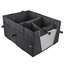 Trunk Organizer EZOWare Cargo Trunk Collapsable Storage Container Bin Box with Handle for Minivan, Vans, Cars, SUV Rear or Backseat - Black