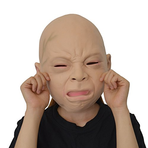 [LarpGears Halloween Costume Party Baby Mask Full Head for Adults Latex Cry Baby Mask] (Animal Halloween Costumes Men)