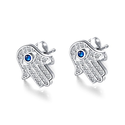 Yellow Gold/White Gold Plated Evil Eye and Hamsa Hand of Fatima White Blue Cubic zircon crystal Stud Earrings For Women Teen Girls (White - Fatima Earrings