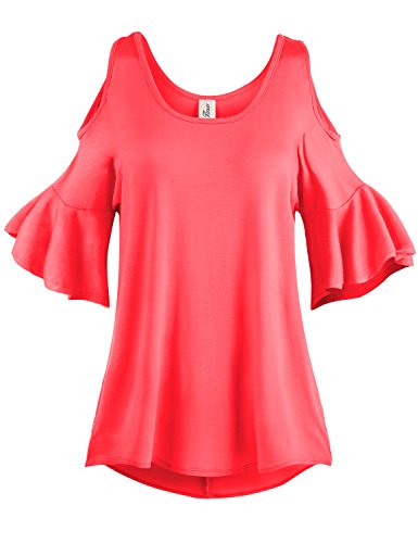 Pleated End Wide Cold Shoulder Tunic Tops, 001-Coral, US M