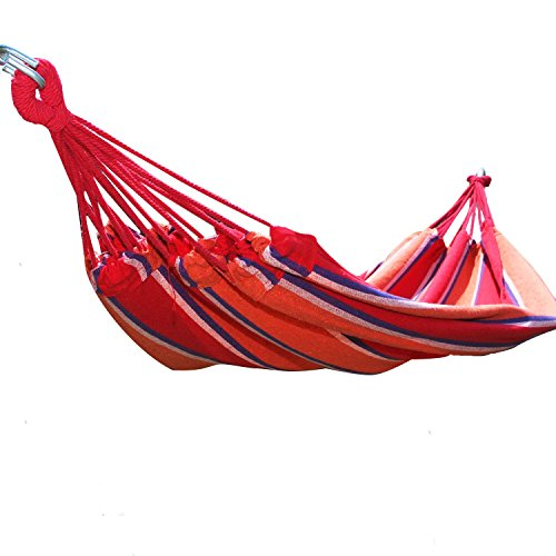 Adeco Naval-Style Cotton Fabric Canvas Hammock Tree Hanging Suspended Outdoor Indoor Bed Antigua / Red Color, 63