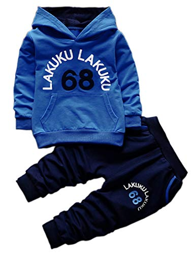 Toddler Baby Boys Long Sleeve Hoodie Tops Sweatsuit Pants Outfit Set(Blue,4T)