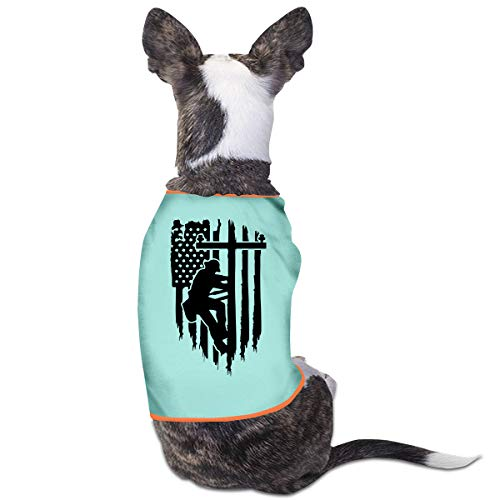 LNUO-2 Pet T-Shirts, American Flag Linesman Powerline Technician Dog Cat Shirts Costume Clothes Apparel