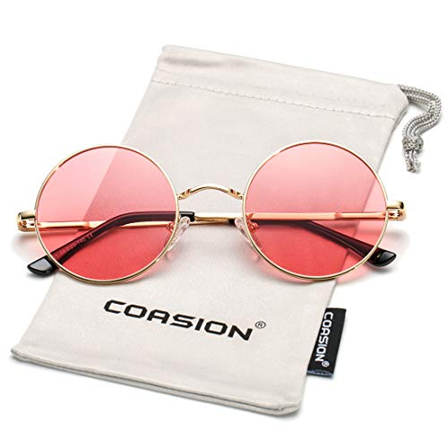 COASION Retro Small Round Polarized Sunglasses John Lennon Style Circle UV400 Sun Glasses (Gold Frame/Clear Pink ()