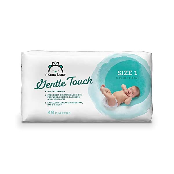 Amazon Brand – Mama Bear Gentle Touch Diapers, Hypoallergenic, Size 1, 49 Count