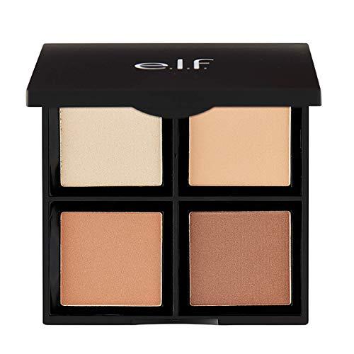 e.l.f. Contour Palette, 4 Powder Shades, Bronzer & Shader, Light/Medium, 0.56 oz.