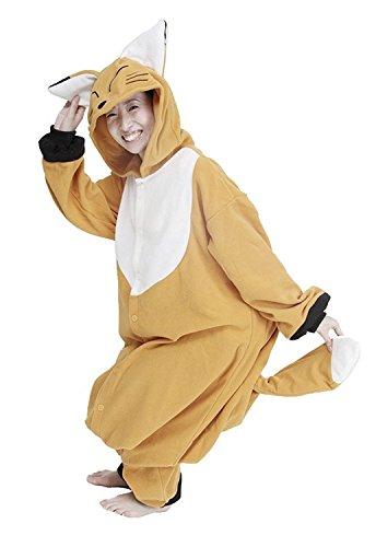 Honeystore Unisex Polar Fleece Animal Jumpsuit Costume Onesie Fox Pajama Cosplay L ()