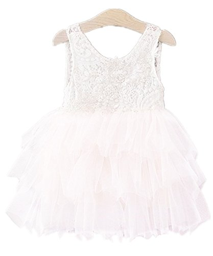 2Bunnies Girl Baby Girl Embroidered Beaded Victorian Lace Tiered Tutu Princess Pageant Party Dress (White, 3T) (Girls Victorian Dress)