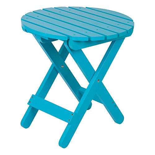 Shine Company 4108TQ Adirondack Round Folding Side Table, Turquoise