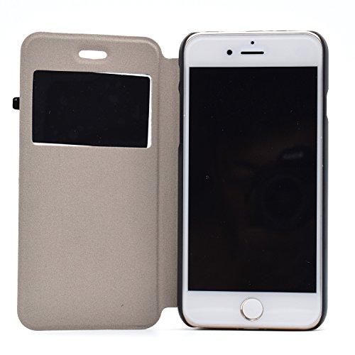 Voguecase® Pour Apple iPhone 7 4,7 Coque, Fenêtre Étui en cuir synthétique chic avec fonction support pratique pour iPhone 7 4,7 (papillon bleu)de Gratuit stylet l'écran aléatoire universelle