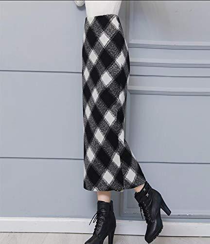 High Waist Plaid Wool Long Skirts for Women 2018 Winter Fashion Vintage Woolen Pencil Skirt Casual Warm Saias Longa Femme,Black Plaid,L
