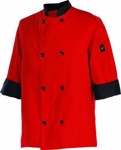 Chef Revival J134TM 24/7 Poly Cotton 3/4 Sleeve Fresh Chef Jacket with Black Trim and Flat Black Button, Medium, Tomato Red ()