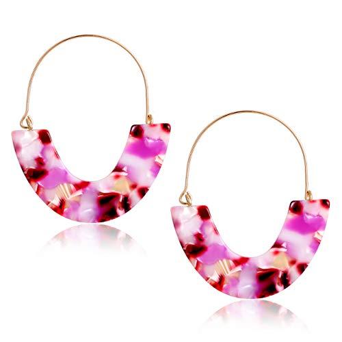 CEALXHENY Acrylic Earrings Tortoise Hoop Earrings Statement Wire Resin Earrings Fan Drop Dangle Earring for Women (G Purple Flower)