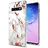 GORGCASE Galaxy S10e 2019 CASE,Slim Anti-Scratch Thin PC TPU Bumper Armor Shockproof Cute Sparkle Bling Girls Women Protective Cover for Samsung Galaxy S10e 5.8 INCH Marble Rose Gold White