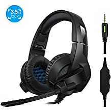 Rimila Stereo Gaming Headset for PS4, PC, Xbox One Controller, Noise Cancelling Over Ear Headphones with Mic, Bass Surround, Soft Memory Earmuffs for Laptop Mac Switch Games