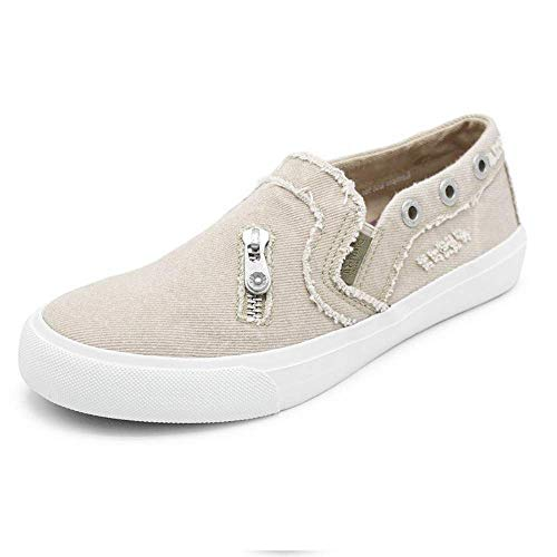 MORNISN Womens Fashion Canvas Sneakers Casual Loafers Shoes Slip on Flats Comfortable Distressed Walking Shoes Beige ()