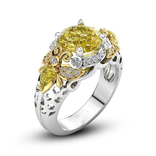 KMG Women Rings, Round Cut Bee Pattern Encrusted Cz Diamond Eternity Wedding Band (7, Yellow)