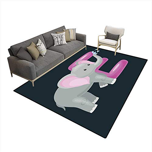Kids Carpet Playmat Rug Letter with Elephant Animal for Kids ABC Education in Preschool 6'6