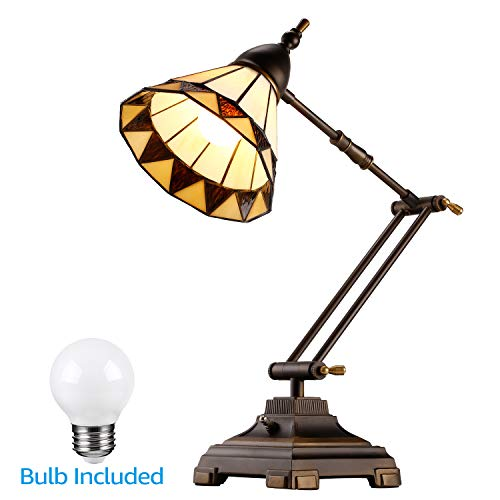 ESCENA Tiffany Style Swing Arm Desk Lamp, Mission Style Table Light, Colored Glass Lampshade, Alloy Light Base, Decoration Lighting for Bedrooms, Living Rooms, Offices (Lamps Style Table Tiffany)