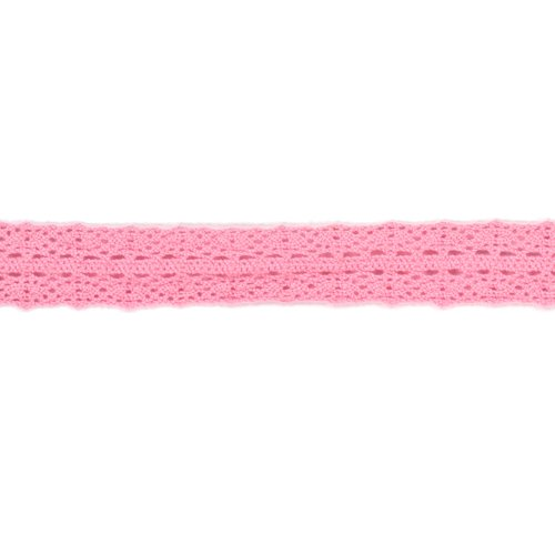 American Crafts 3/4-Inch Crocheted Lace Ribbon, 2-Yard Spool, Bubblegum