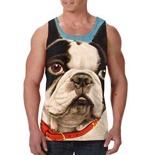 (Black Pop Boston French Bulldog Men's Premium Tank Tops Training Shirts Quick Dry Cool Muscle Funny Sportswear Sauna Vest)