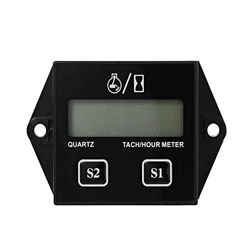 - Nine-Rong LCD Gasoline Inductive Tachometer Resettable Tach/Hour Meter for Paramotors, Microlights, Marine Engines - Inboards and Outboard Pumps, Generators, Mowesr,
