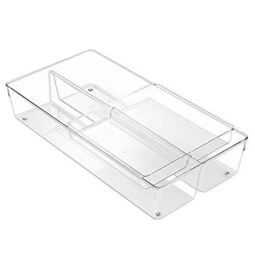 """iDesign Linus Plastic Utensil Drawer Divided Organizers, 2-Piece Kitchen Storage Containers with Sliding Tray for Spatulas, Whisks, Spoons, Knives, Silverware, Flatware, 8"""" x 16"""" x 3"""" - Clear"""